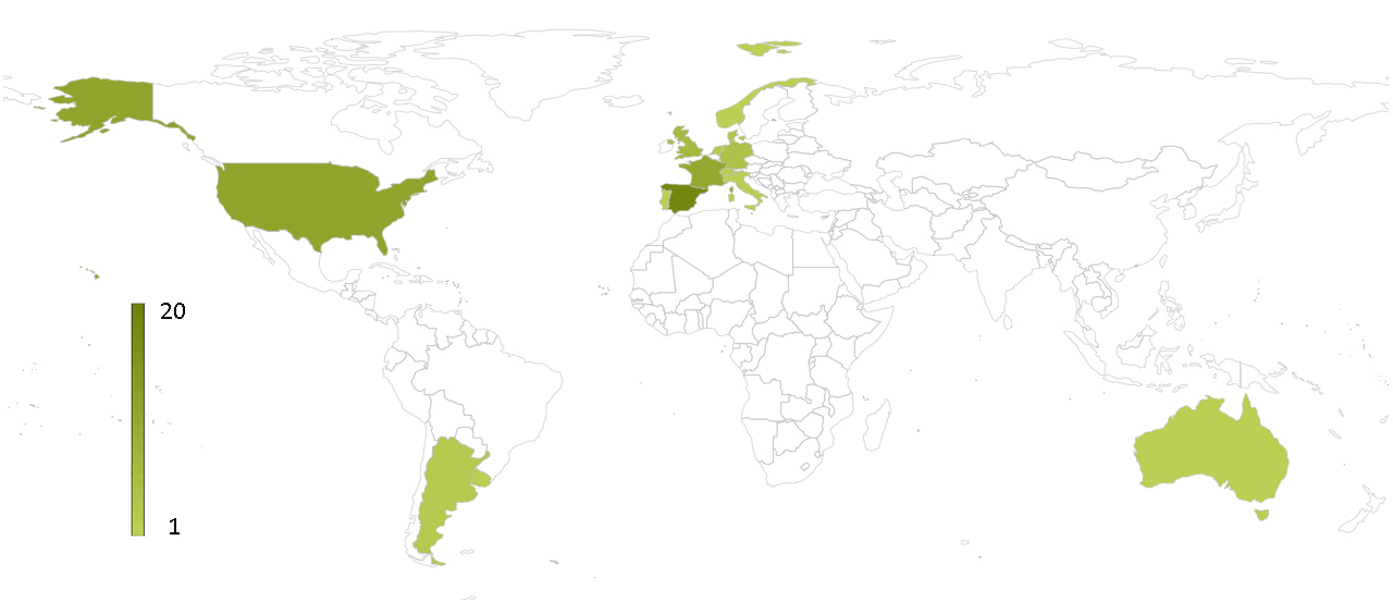 Instructors by country in Transmitting Science (72 instructors from 14 countries)