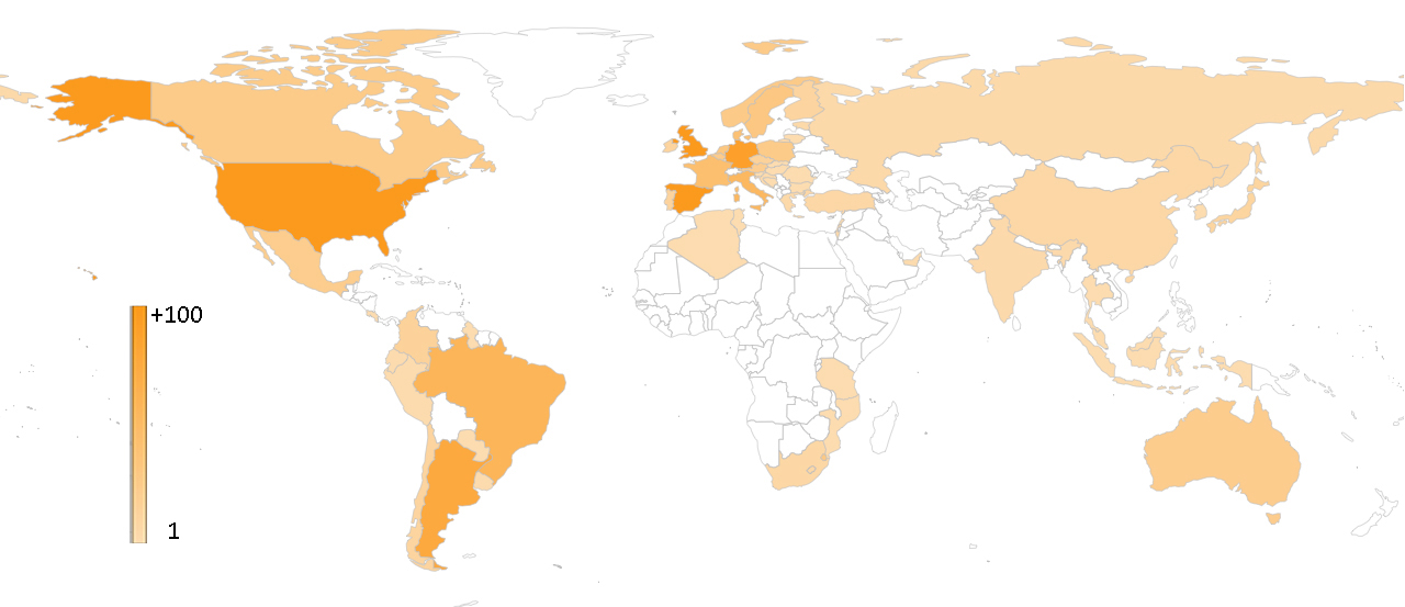 Participants by country in Transmitting Science (1586 participants from 59 countries)
